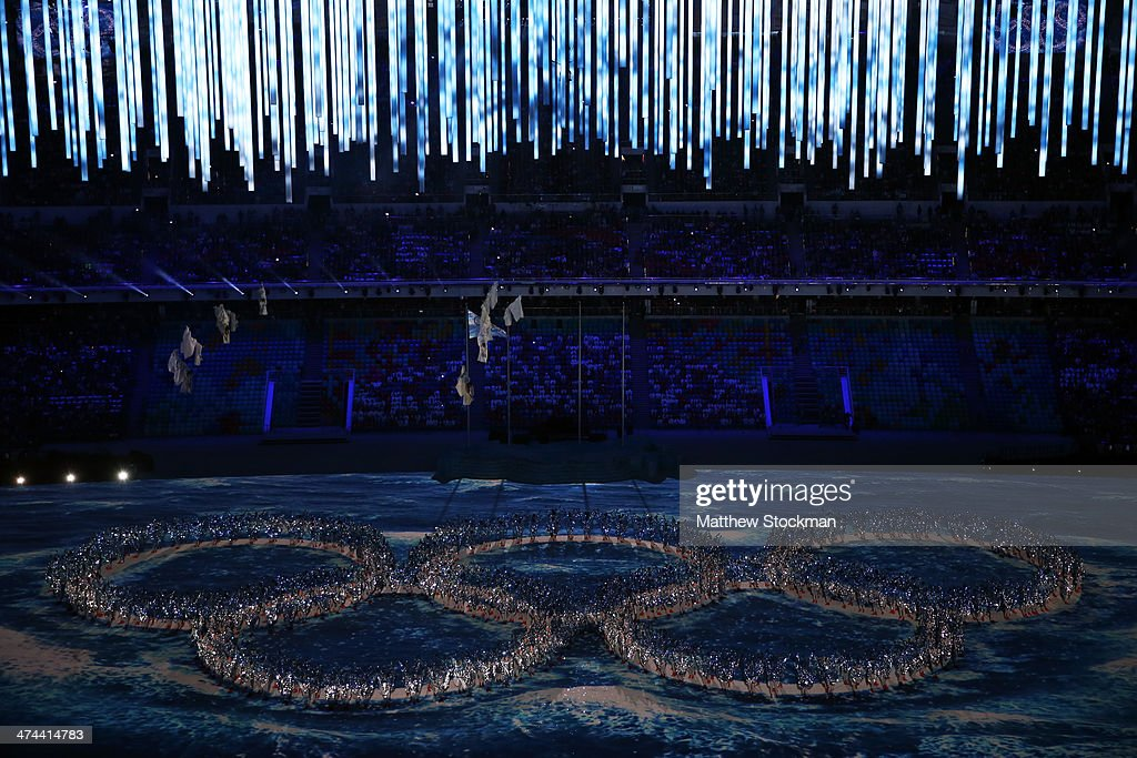 Dancers form the Olympic rings during the 2014 Sochi Winter Olympics Closing Ceremony at Fisht Olympic Stadium on February 23, 2014 in Sochi, Russia.