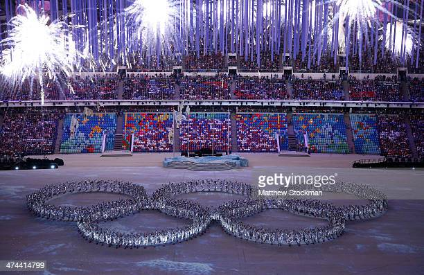 Dancers form the Olympic rings during the 2014 Sochi Winter Olympics Closing Ceremony at Fisht Olympic Stadium on February 23 2014 in Sochi Russia