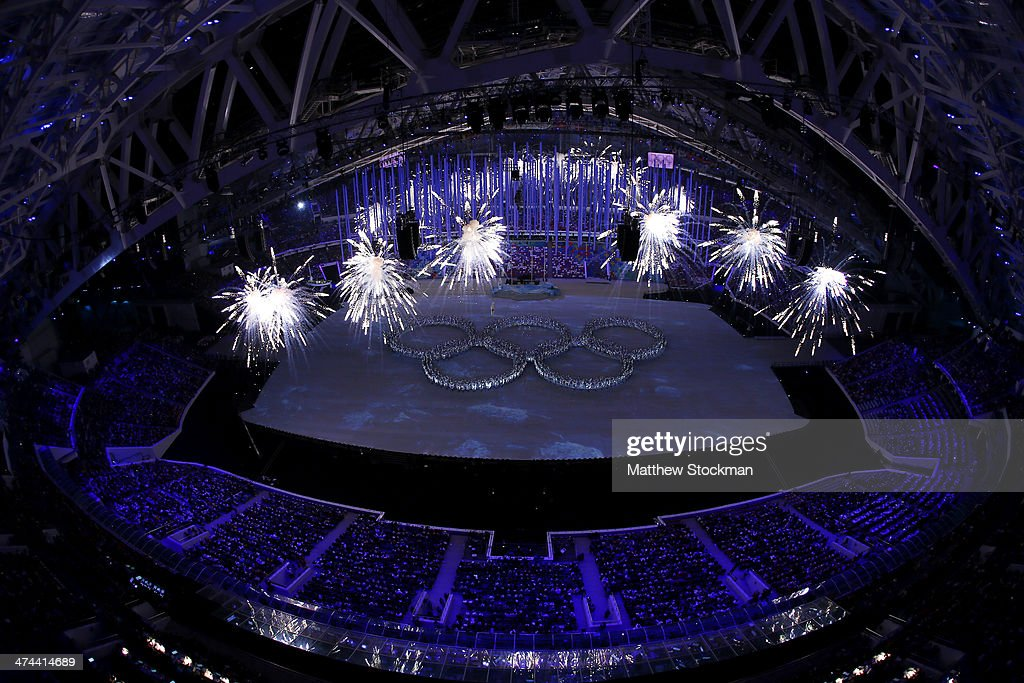Dancers form the Olympic rings during the Closing Ceremony of the Sochi 2014 Winter Olympics at Fisht Olympic Stadium on February 23, 2014 in Sochi, Russia.