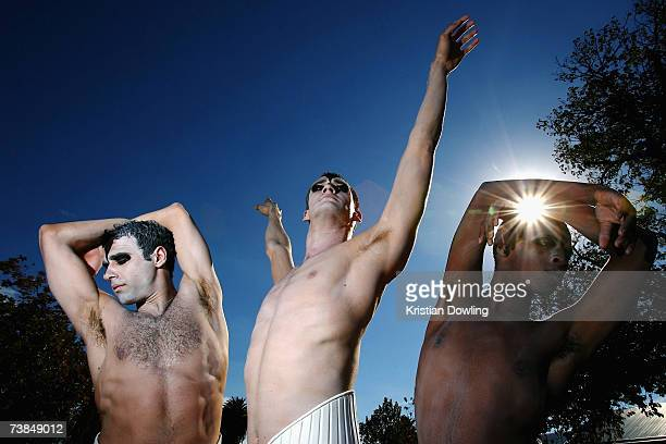 Dancers Francesco D'Astici of Italy Nick Cunningham of Australia and Lelo Ndabeni of South Africa pose at the photocall prior to the first night of...