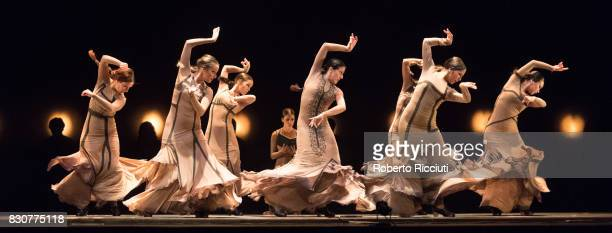 Dancers from Flamenco company Maria Pages Compania perform on stage at Edinburgh Playhouse during a photocall for the show 'Yo Carmen' during the...
