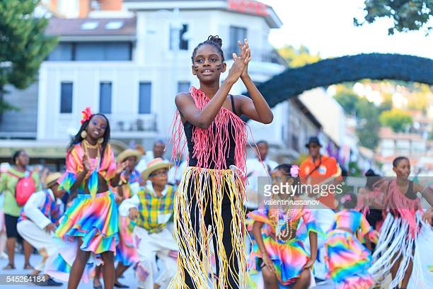Dancers from group for traditional folklore of Martinique on parade