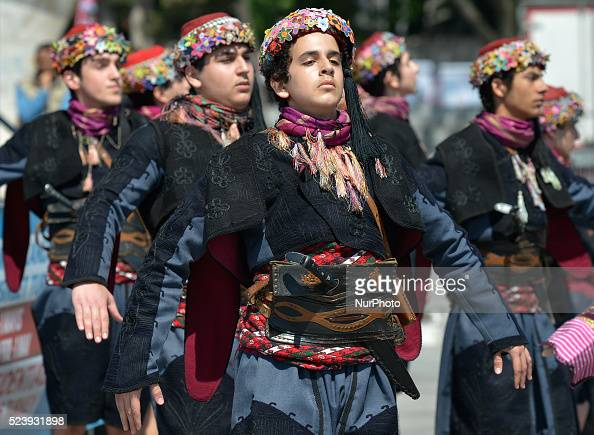 Dancers from Istanbul region wear traditional costumes during a performance ahead of the opening stage of the 52nd Presidential Tour of Turkey 2016...