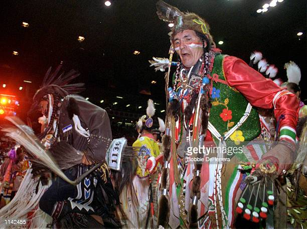 Dancers from one of more than 700 tribes from Canada and the United States compete at the 18th Annual Gathering of Nations Powwow April 27 2001 at...
