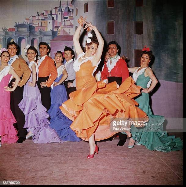 Dancers from Pilar Lopez's dance troupe perform the Flamenco at a cabaret