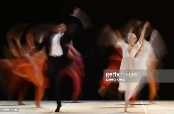 Dancers from the Australian Ballet perform during the full dress rehearsal of 'Nijinsky' at the Opera House in Sydney on November 10 2016 The...