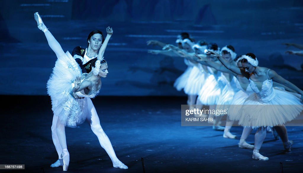Dancers from the Moscow Royal Ballet, accompanied by Royal Moscow Orchestra, perform Pyotr Ilyich Tchaikovsky's 'Swan Lake' at a theater in the World Trade Center in Dubai, on May 14, 2012, on the last evening of four performance.