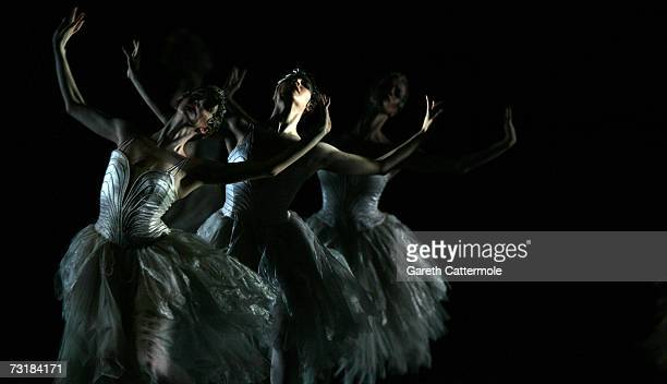 Dancers from The Royal Ballet perform during a dress rehearsal for Swan Lake at the Royal Opera House Covent Garden on February 2 2007 in London...