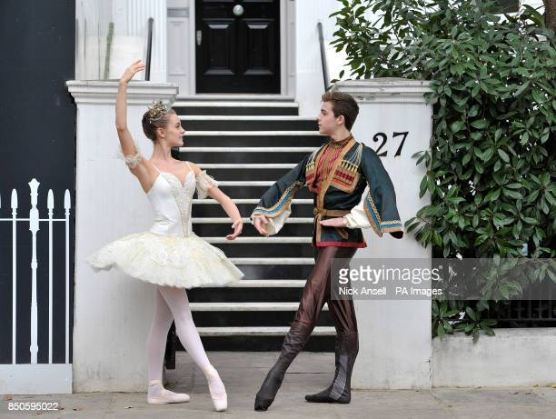 Dancers from the Royal Ballet School Madison Bailey and Jordan Martinez who is wearing a costume from Rudolf Nureyev's own collection pose during the...