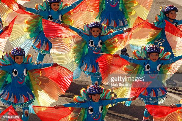 PASADENA CA – Dancers from the Shanghi World Expo entry 'Better City Better Life' perform during the 121st Rose Parade in Pasadena CA