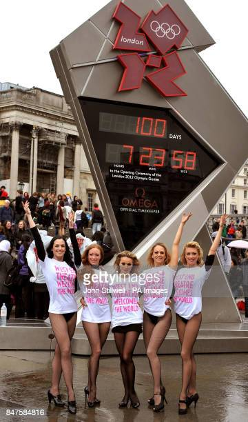 Dancers from the show Chicago Lauren Brooke Emma Harris Sarah Soetaert Jenny Gayner and Laura Tyrer add a bit of glamour to the Olympic countdown...