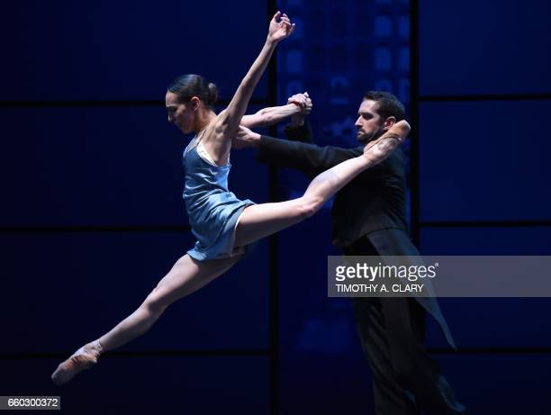 CORRECTION Dancers from the The Joffrey Ballet perform a scene during a dress rehearsal of Krzysztof Pastors 'Romeo Juliet' on March 29 2017 in New...