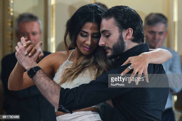 Dancers Ganpiero Galdi and Majo Martirena perfom Argentine tango during an evening milonga event in Juliusz Slowacki Theatre an event that was a part...