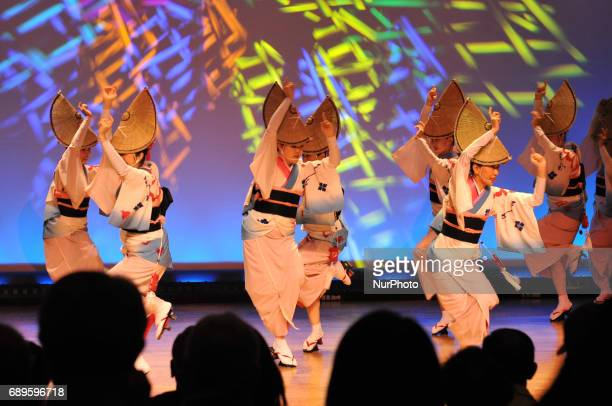 Dancers in colorful costumes perform the traditional Awa Odori folk dance on May 28 2017 in Tokushima Prefecture western Japan Tokushima City's Awa...