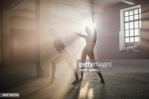 Dancers in old warehouse