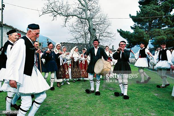 Dancers in traditional dress during the Easter celebrations Arachova Boeotia Greece