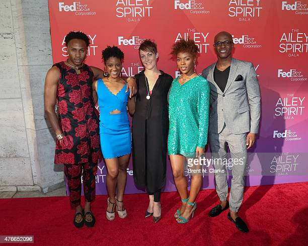 Dancers Jeroboam Bozeman Jacquelin Harris Elisa Clark Samantha Higgins and Collin Hayward arrive for the 2015 Ailey Spirit Gala held at the David H...