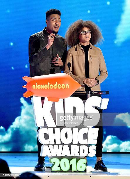 Dancers Jordan Banjo and Perri Kiely accepts the award for UK Inspirational Athlete onstage at the 2016 KCA International/Regional Awards at The...