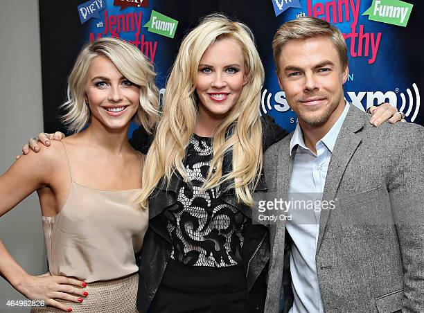 Dancers Julianne Hough and Derek Hough pose with host Jenny McCarthy during a visit to 'Dirty Sexy Funny with Jenny McCarthy' at the SiriusXM Studios...