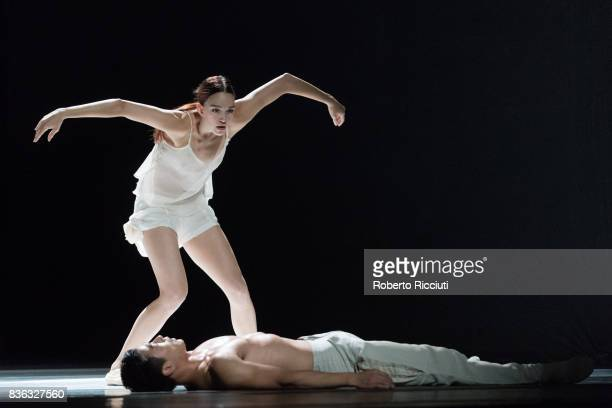 Dancers Juliette Brunner and Jianhui Wang of Netherland Dans Theatre perform on stage 'StopMotion' by choreographers Sol Leon and Paul Lightfoot...
