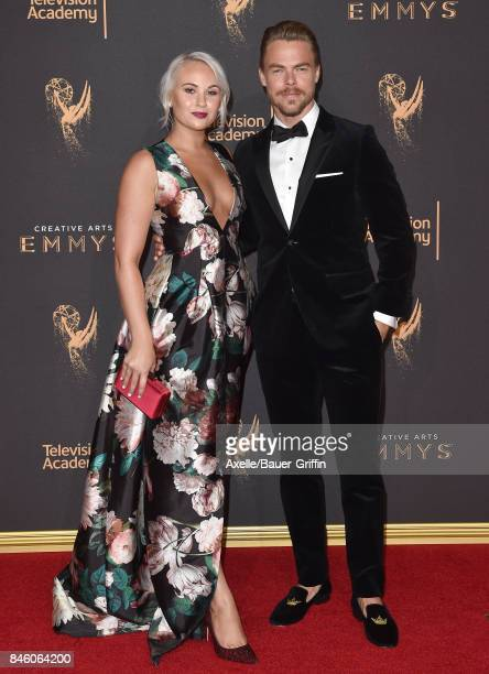Dancers Kelsey McCowan and Derek Hough arrive at the 2017 Creative Arts Emmy Awards at Microsoft Theater on September 9 2017 in Los Angeles California