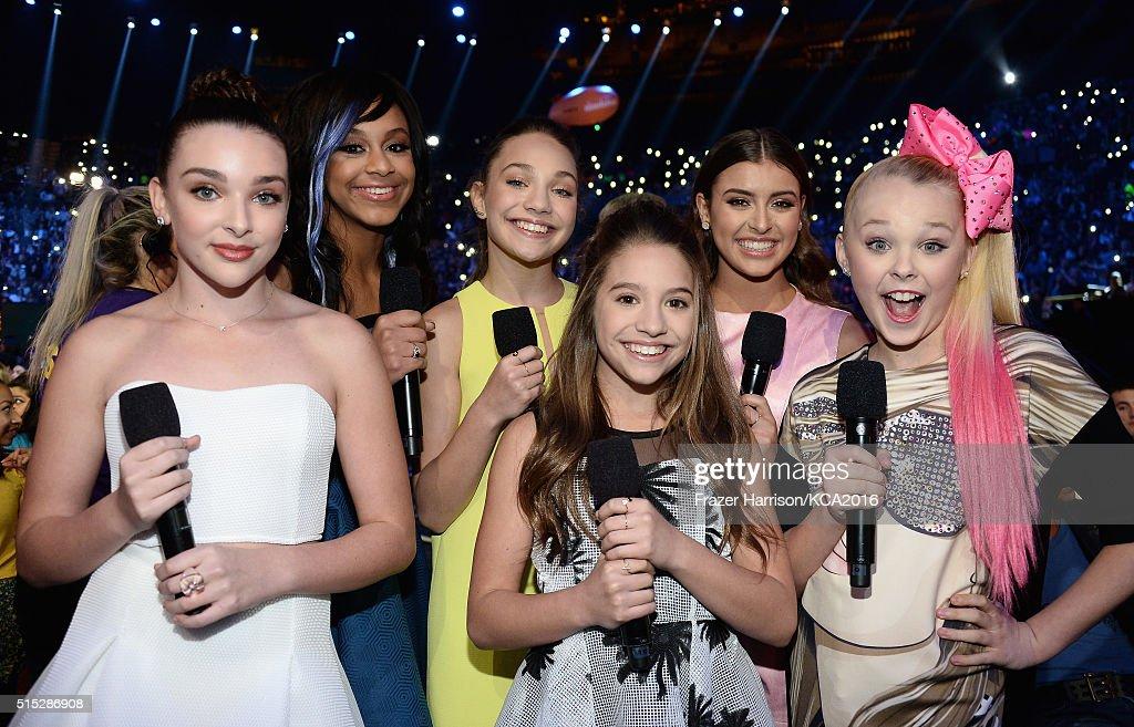 Dancers Kendall Vertes, Nia Sioux Frazier, Maddie Ziegler, Mackenzie Ziegler, Kalani Hilliker, and JoJo Siwa attend Nickelodeon's 2016 Kids' Choice Awards at The Forum on March 12, 2016 in Inglewood, California.