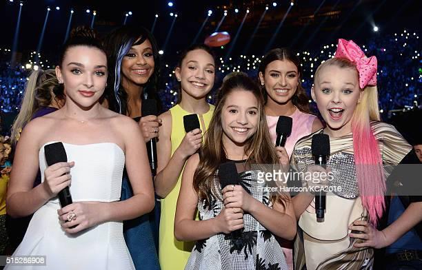 Dancers Kendall Vertes Nia Sioux Frazier Maddie Ziegler Mackenzie Ziegler Kalani Hilliker and JoJo Siwa attend Nickelodeon's 2016 Kids' Choice Awards...