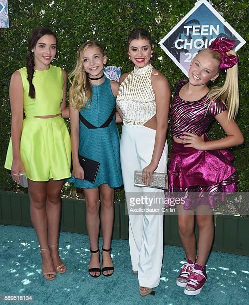 Dancers Kendall VertesBrynn Ashley RomfalloKalani Hilliker and JoJo Siwa of 'Dance Moms' arrive at the Teen Choice Awards 2016 at The Forum on July...