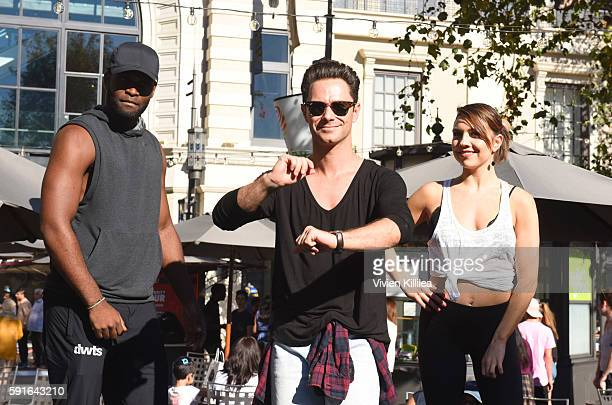 Dancers Keo Motsepe Artem Chigvintsev and Brittany Cherry attend The Grove Hosts Dancing With The Stars Dance Lab With pros Val Chmerkovskiy Whitney...