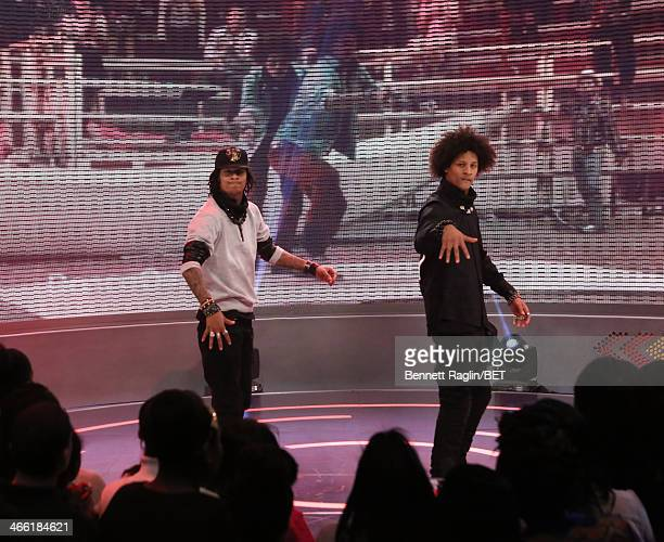 Dancers Les Twins perform during 106 Park at BET studio on January 30 2014 in New York City