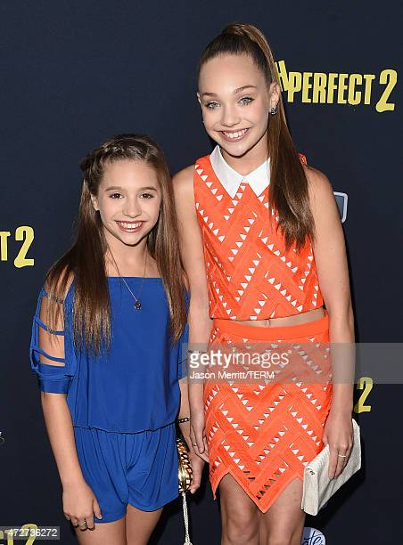Dancers Mackenzie Ziegler and Maddie Ziegler arrive at the World Premiere of 'Pitch Perfect 2' held at the Nokia Theatre LA Live on Friday May 8 in...