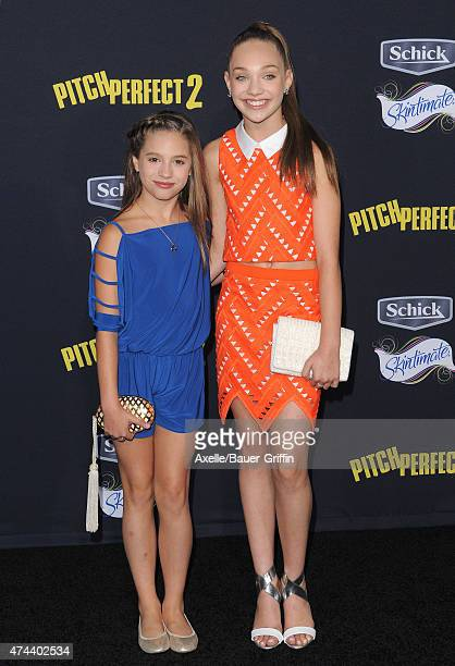 Dancers Maddie Ziegler and Mackenzie Ziegler arrive at the Los Angeles premiere of 'Pitch Perfect 2' at Nokia Theatre LA Live on May 8 2015 in Los...