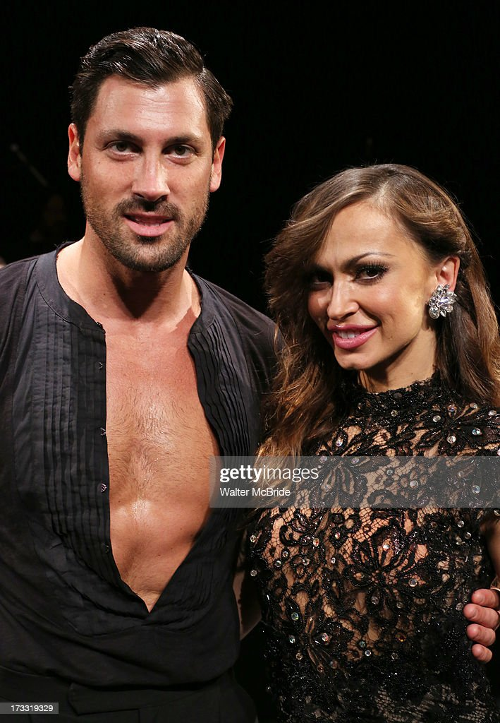 Dancers Maksim Chmerkovskiy and Karina Smirnoff attend 'Forever Tango' Press Preview at Walter Kerr Theatre on July 11, 2013 in New York City.