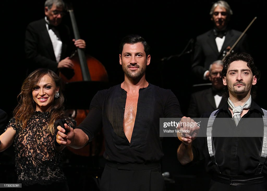 Dancers <a gi-track='captionPersonalityLinkClicked' href=/galleries/search?phrase=Maksim+Chmerkovskiy&family=editorial&specificpeople=4251170 ng-click='$event.stopPropagation()'>Maksim Chmerkovskiy</a>, <a gi-track='captionPersonalityLinkClicked' href=/galleries/search?phrase=Karina+Smirnoff&family=editorial&specificpeople=4029232 ng-click='$event.stopPropagation()'>Karina Smirnoff</a> and Juan Paulo Horvath performs 'Forever Tango' Press Preview at Walter Kerr Theatre on July 11, 2013 in New York City.