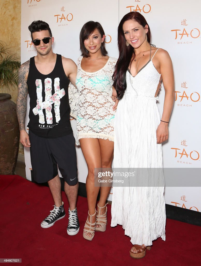 Dancers Mark Ballas Cheryl Burke and Sharna Burgess arrive at a birthday celebration hosted by Cheryl Burke at the Tao Beach at The Venetian Las...