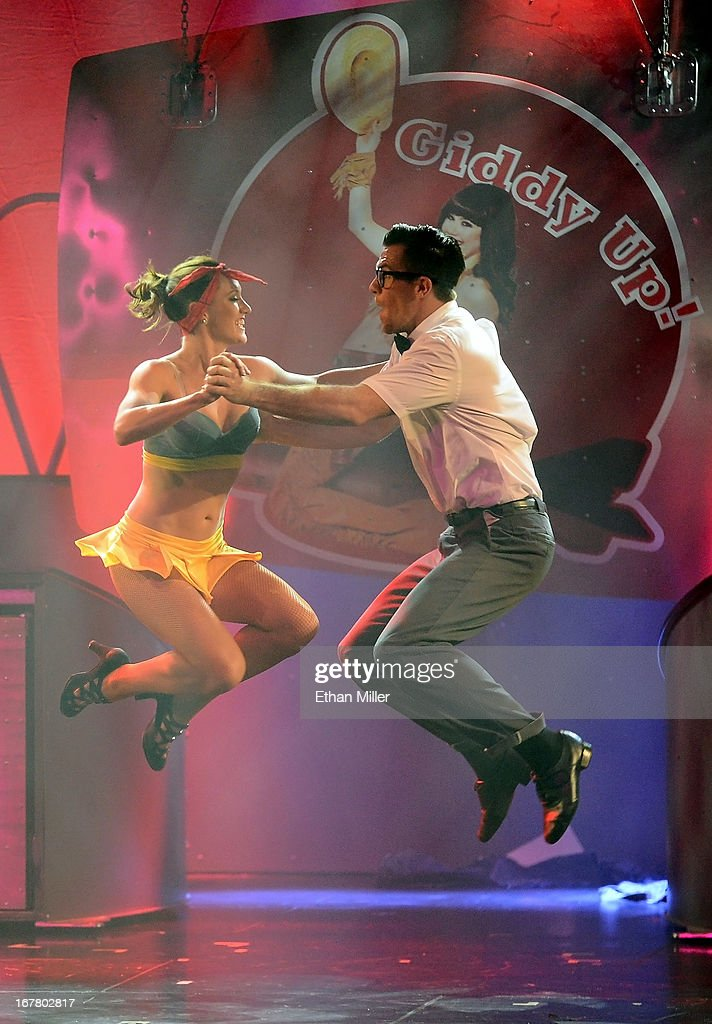 Dancers Megan Kovitch (L) and Ryan Kelsey perform during the premiere of the show 'Pin Up' at the Stratosphere Casino Hotel on April 29, 2013 in Las Vegas, Nevada.
