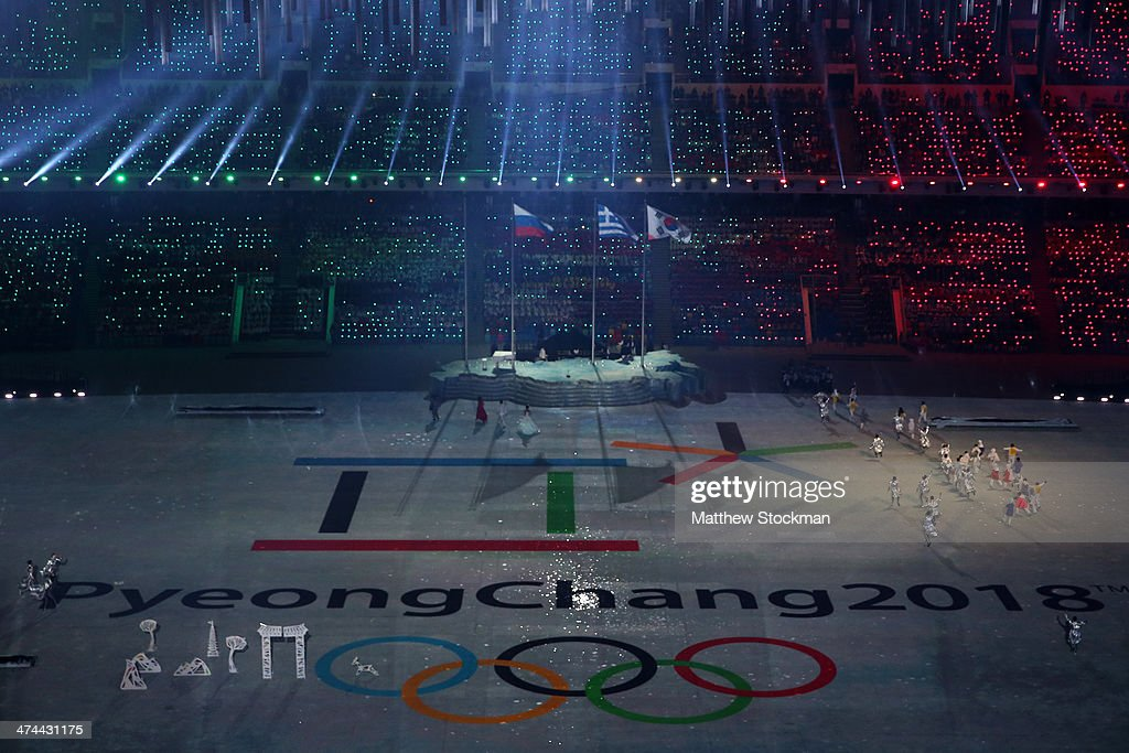 Dancers, musicians and singers perform during the Pyeongchang 2018 presentation as part of the 2014 Sochi Winter Olympics Closing Ceremony at Fisht Olympic Stadium on February 23, 2014 in Sochi, Russia.