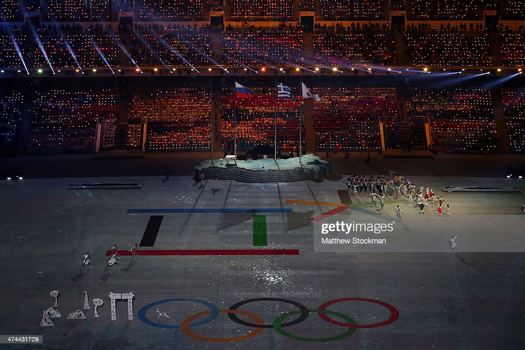 Dancers musicians and singers perform during the Pyeongchang 2018 presentation as part of the 2014 Sochi Winter Olympics Closing Ceremony at Fisht...