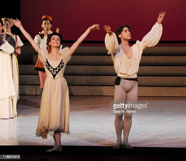 Dancers Natalia Osipova and Ivan Vasiliev bow during a curtain call for the Gala Performance of Sir Frederick Ashton's Romeo Juliet featuring an on...