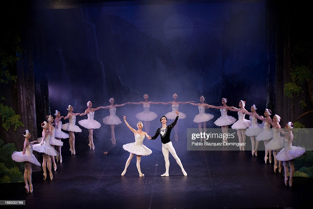 Dancers Nataliya Kungurtseva and Alexander Butrimovich of the Classical Russian Ballet perform during a rehearsal of 'Swan Lake' at Nuevo Apolo Theatre on May 8, 2013 in Madrid, Spain.