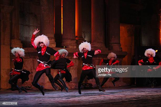 Dancers of Jordanian club AlJeel AlJadeed perform arts of the Circassian dance a major componenet of the Circassian culture at the main amphitheatre...