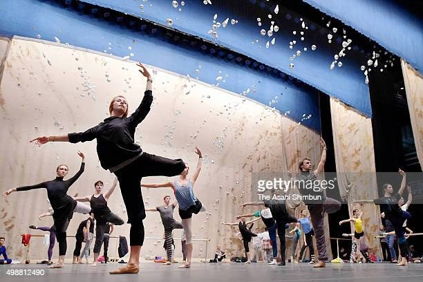 Dancers of Mariinsky Ballet perform during a rehearsal of their Japan performance at Bunkyo Civic Hall on November 26 2015 in Tokyo Japan