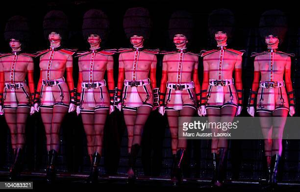 Dancers of mythical Crazy Horse Paris perform on stage during a rehearsal on September 13 2010 in Paris France French actress and singer Clotilde...