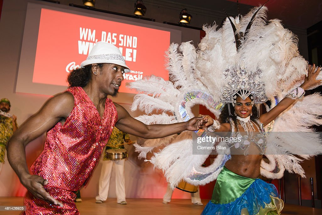 Dancers of Tangara Brasil Dance perform at the Gala Night of the FIFA World Cup Trophy Tour on March 29, 2014 in Berlin, Germany.