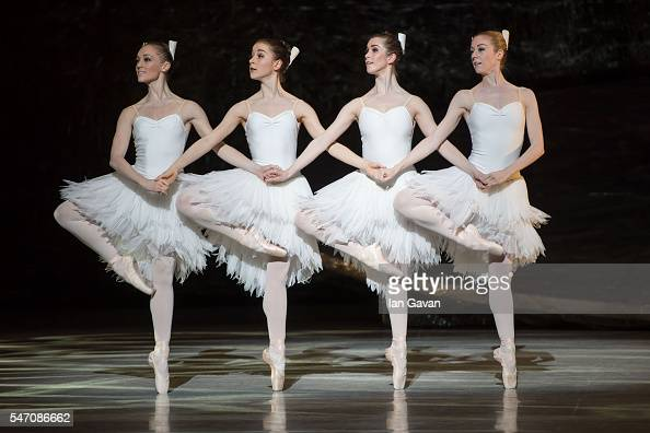 Dancers of the Australian Ballet perform on stage during the dress rehearsal of 'Swan Lake' on their 25th international tour at London Coliseum on...