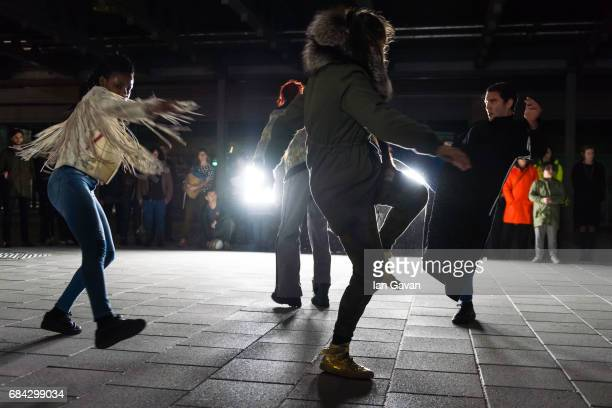 Dancers of the Boris Charmatz Company perform 'Musee de la danse danse de nuit' at the multi story car park Olympic Park on May 17 2017 in London...