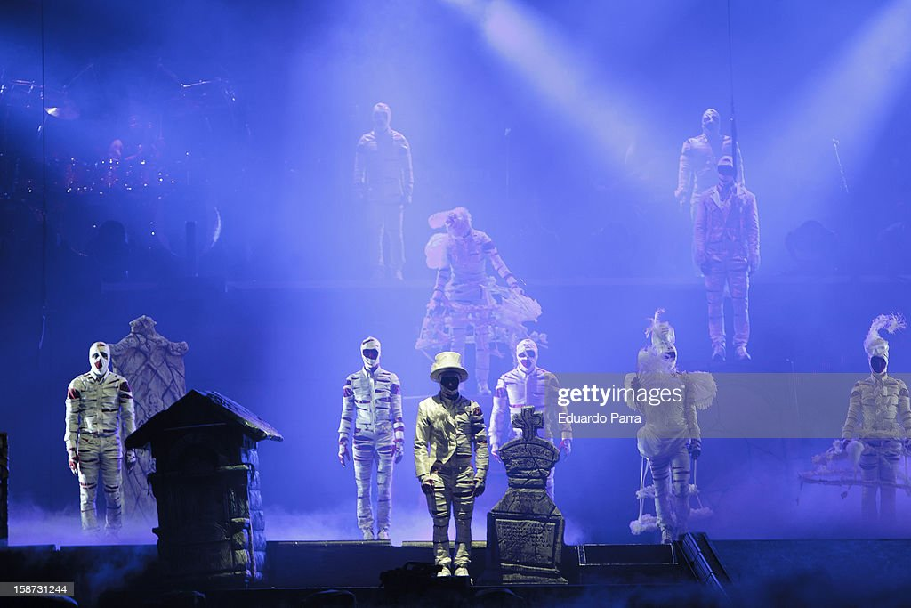 Dancers of the company 'Cirque du Soleil' dance in the show 'Michael Jackson Immortal World Tour' at Madrid Sports Palace on December 26, 2012 in Madrid, Spain.