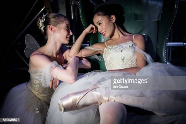 Dancers of the English National Ballet wait in the wings during the dress rehearsal of 'Song of the Earth / La Sylphide' at the Manchester Palace...