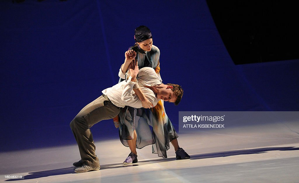 Dancers of the GG Dance Eger contemporary group perform during the rehearsal for the premiere 'Les Préludes' (The Wooden Prince), choreographed by Hungarian Mate Meszaros and Tamas Topolanszky at the National Dance Theater in Budapest on February 1, 2013.