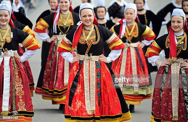 Dancers of the 'Groupe celtique de Pontl'abbe' parade on August 2 2009 in Lorient western France during the celtics nations Great Parade of the...